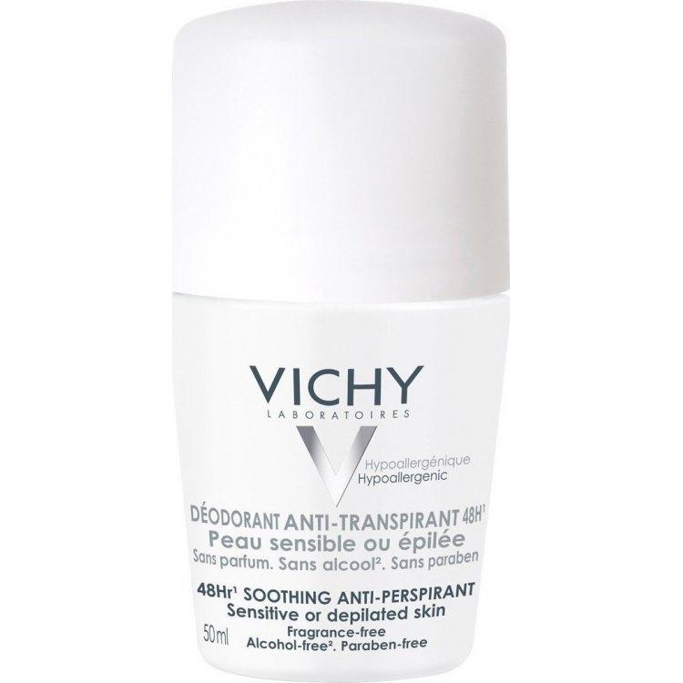 Vichy Anti-Transpirant, Αποσμητικο για Ευαίσθητες ή και Αποτριχωμένες Επιδερμίδες, 48ωρη 50ml