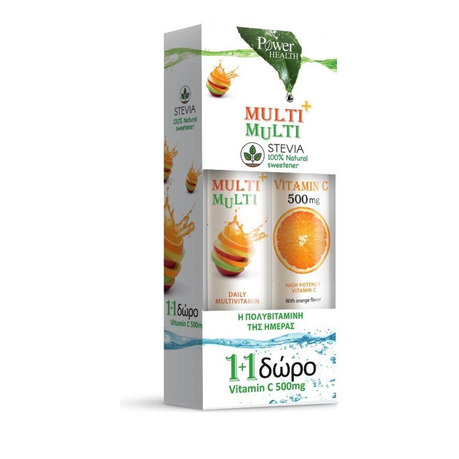 Power Health Multi+Multi με Στέβια (24eff.tabs) + Vitamin C 500mg Πορτοκάλι (20eff.tabs)