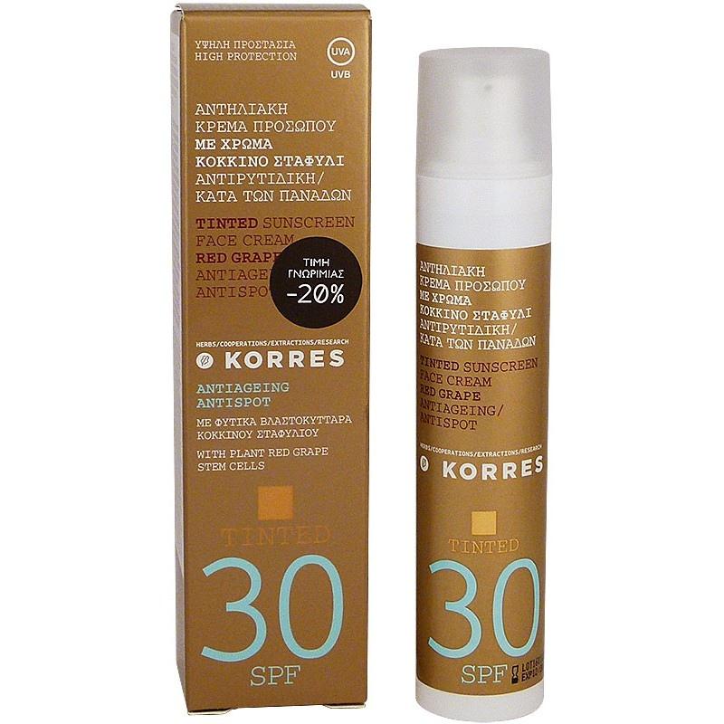 KORRES Sunscreen Face Cream Red Grape Anti-Age Anti-Spot SPF30 Tinted 50ml