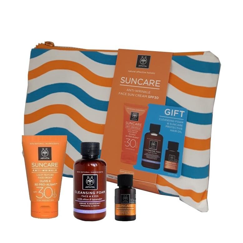 Apivita Suncare Αντηλιακή κρέμα κατά των ρυτίδων SPF30+ ΔΩΡΟ Mini Αφρός Καθαρισμού & Mini Αντηλιακό Λάδι Μαλλιών 20ml