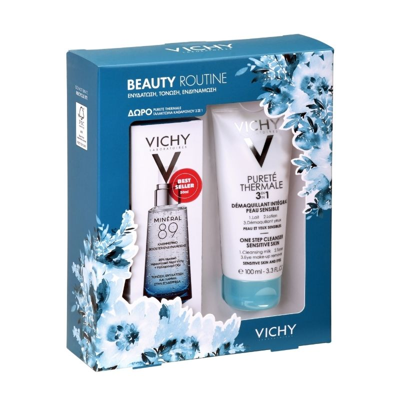 Vichy Beauty Routine Mineral 89, 50ml & ΔΩΡΟ Vichy Purete Thermale Ντεμακιγιάζ 3 σε 1, 100ml