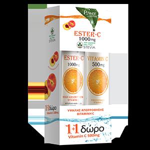 Power Health ESTER-C 1000mg 1+1 δώρο  Vitamin C 500mg